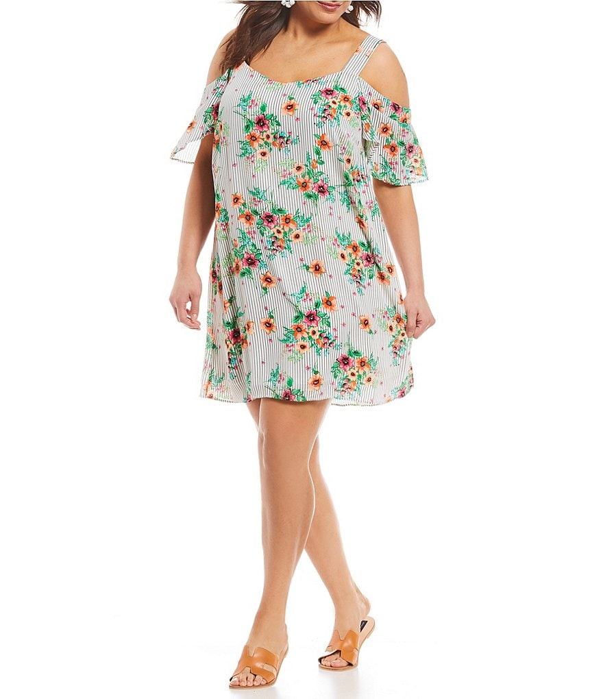 Moa Moa Plus Cold-Shoulder Floral Print Dress