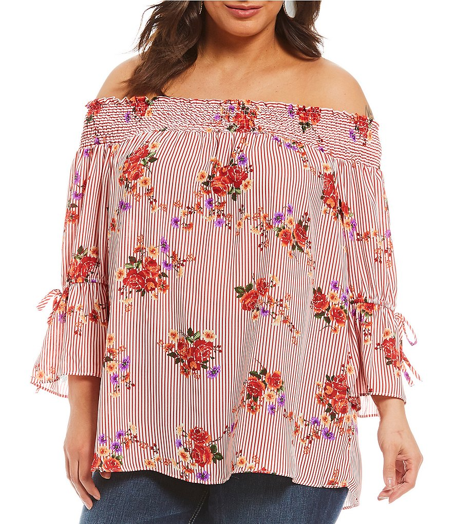 Moa Moa Plus Off-The-Shoulder Tie Bell Sleeve Floral Print Stripe Peasant Top
