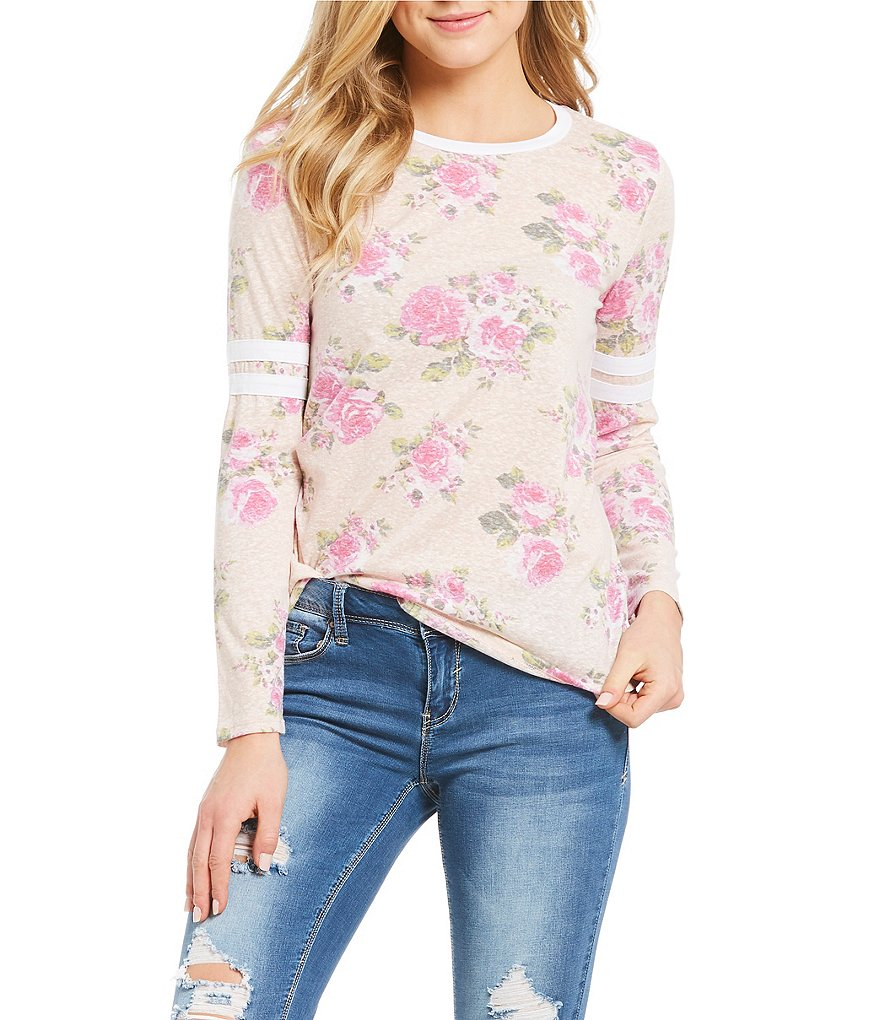 Moa Moa Washed Floral Printed Long Sleeve Football Tee