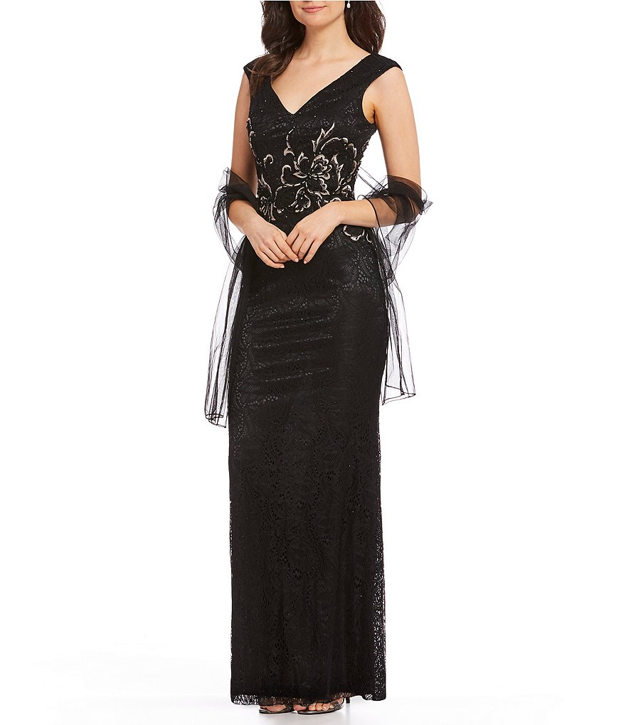 Mon Cheri Embroidered Lace Gown