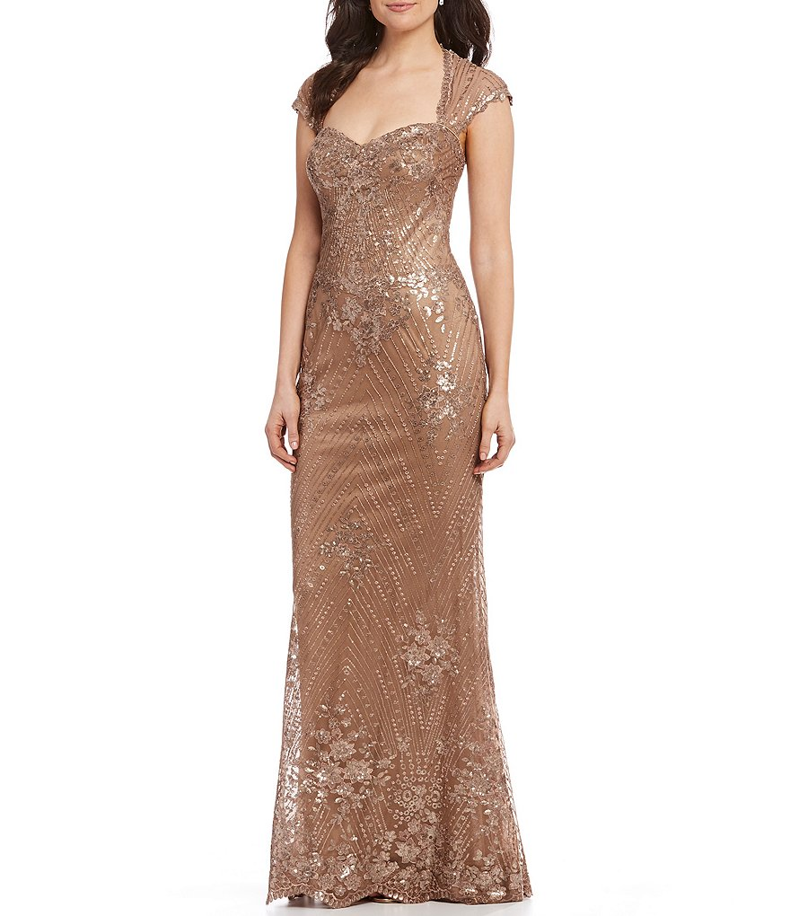 Mon Cheri Metallic Sequin Lace Mermaid Gown