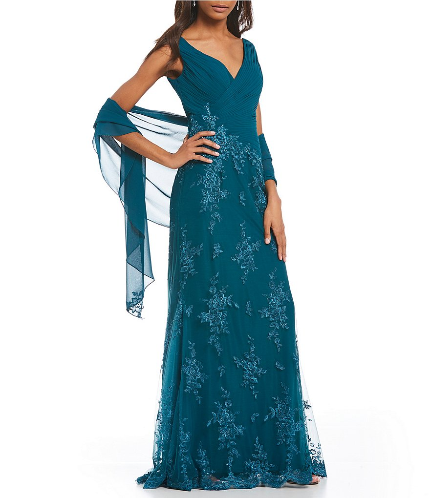 Montage by Mon Cheri V-Neck Lace Gown