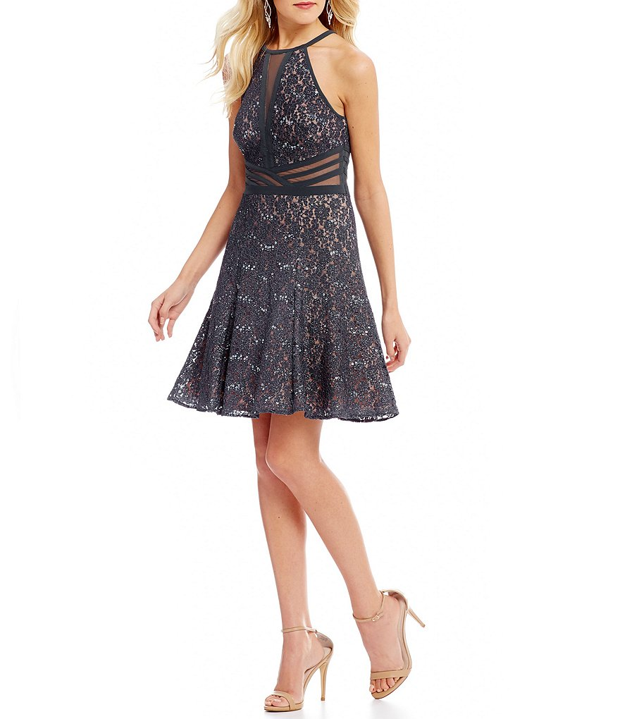 Morgan & Co. Illusion Inset Lace Fit-And-Flare Dress