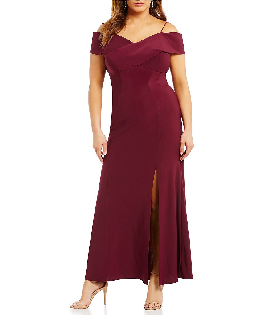 Morgan & Co. Plus Off-The-Shoulder Long Dress