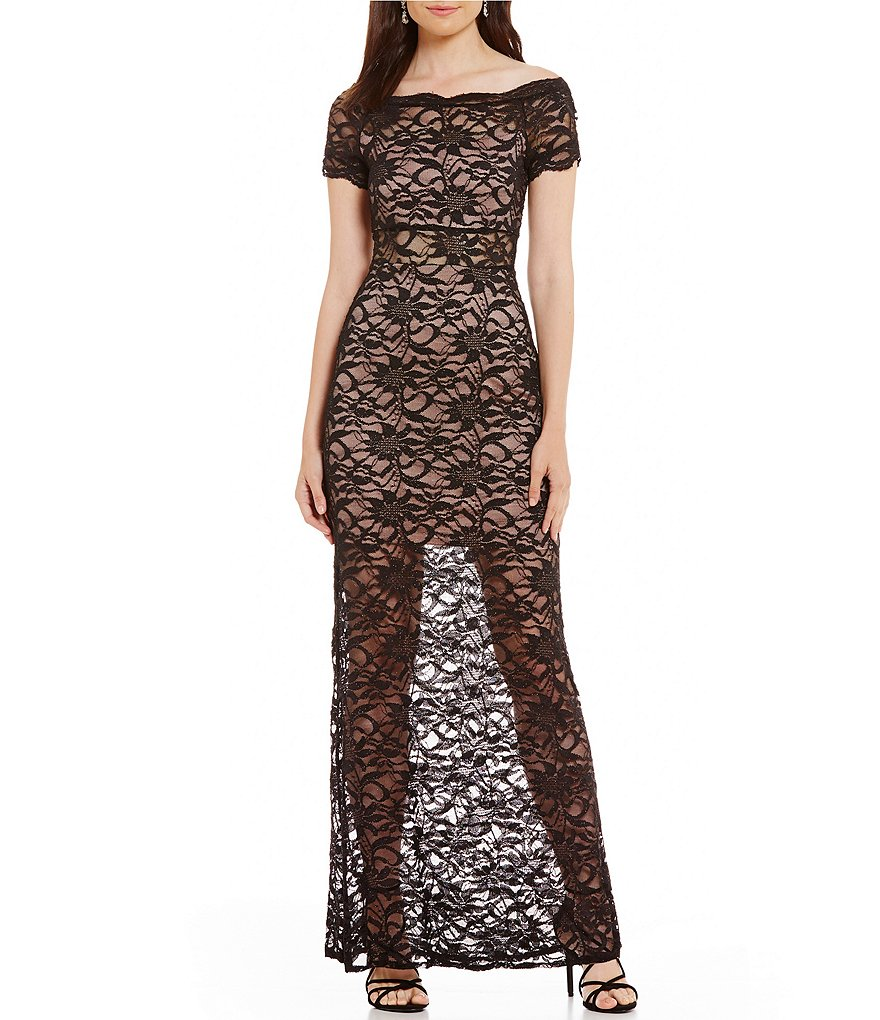 Morgan & Co. Off-The-Shoulder Lace Long Dress