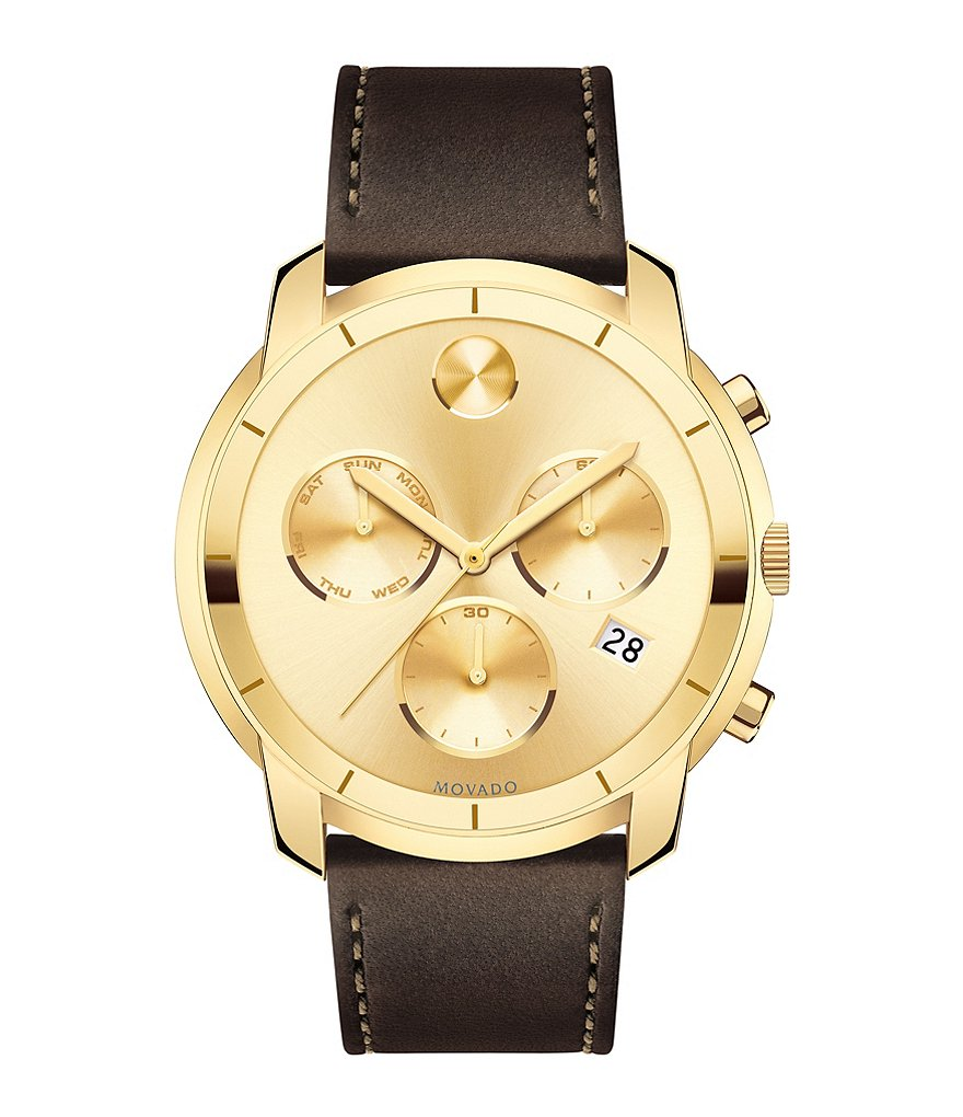 Movado Bold Chronograph Leather-Strap Watch