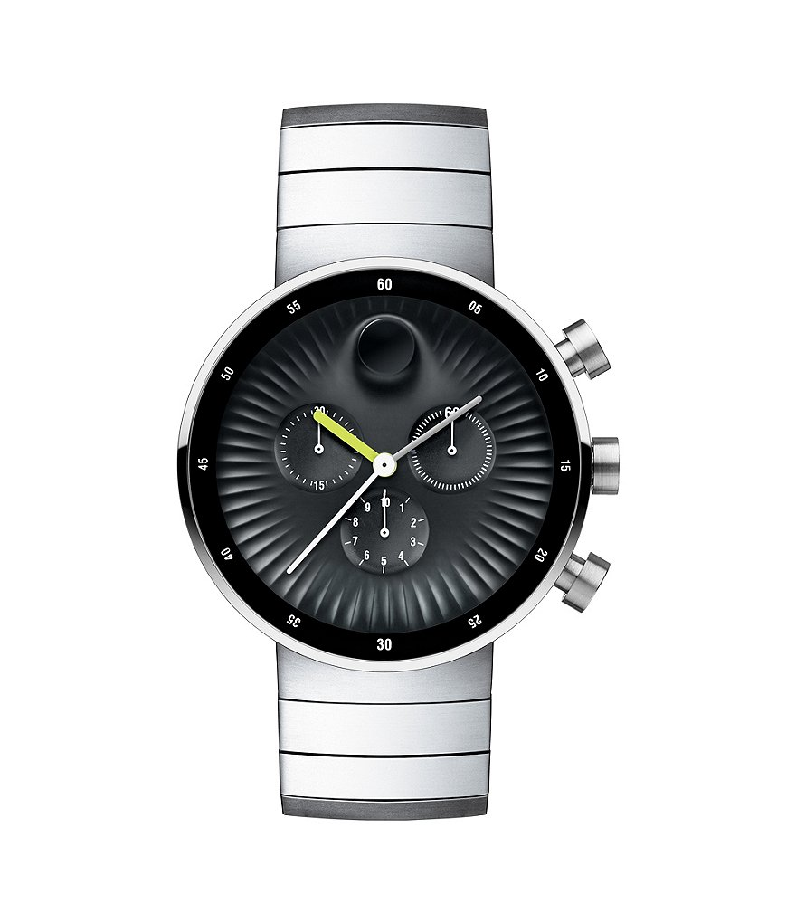 Movado Bold Edge Black Dial Stainless Steel Chronograph Watch