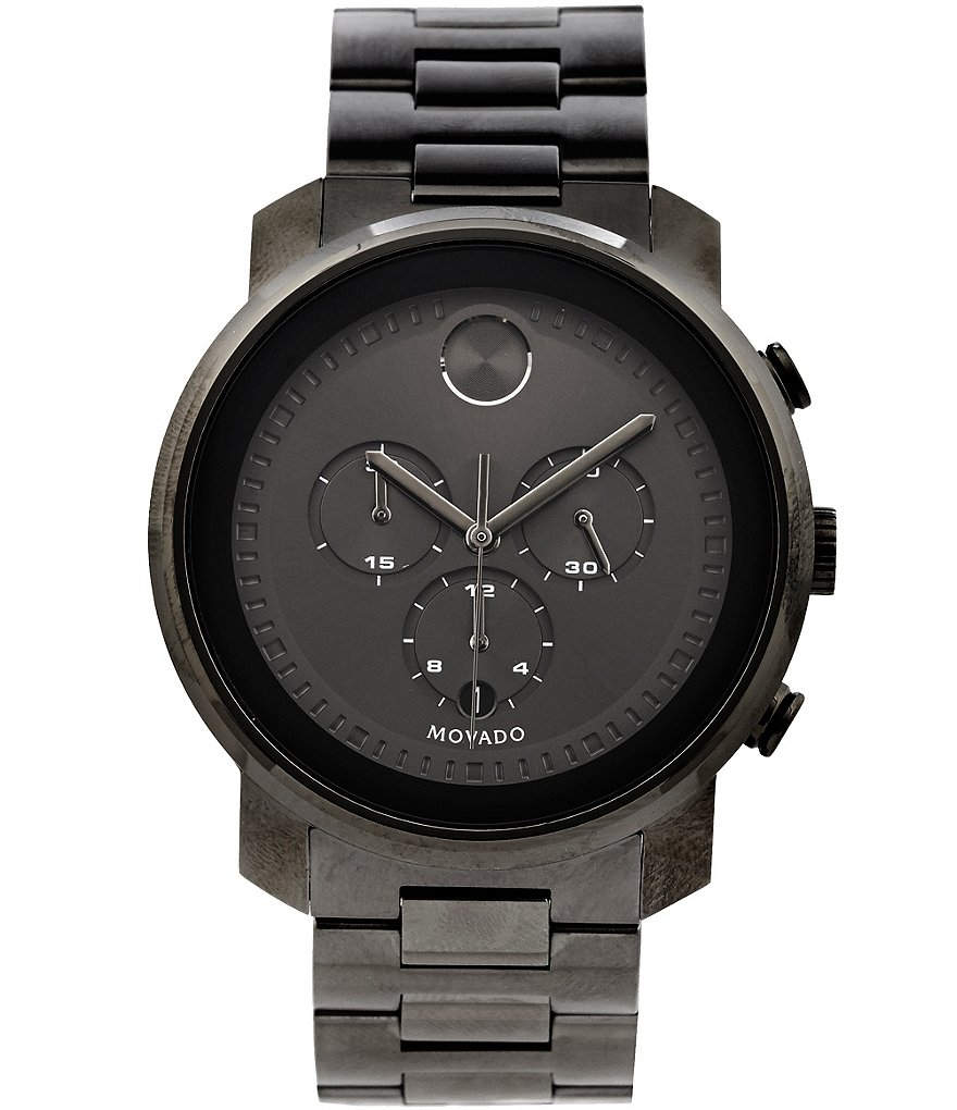 Movado Bold Gunmetal Stainless Steel Chronograph Watch