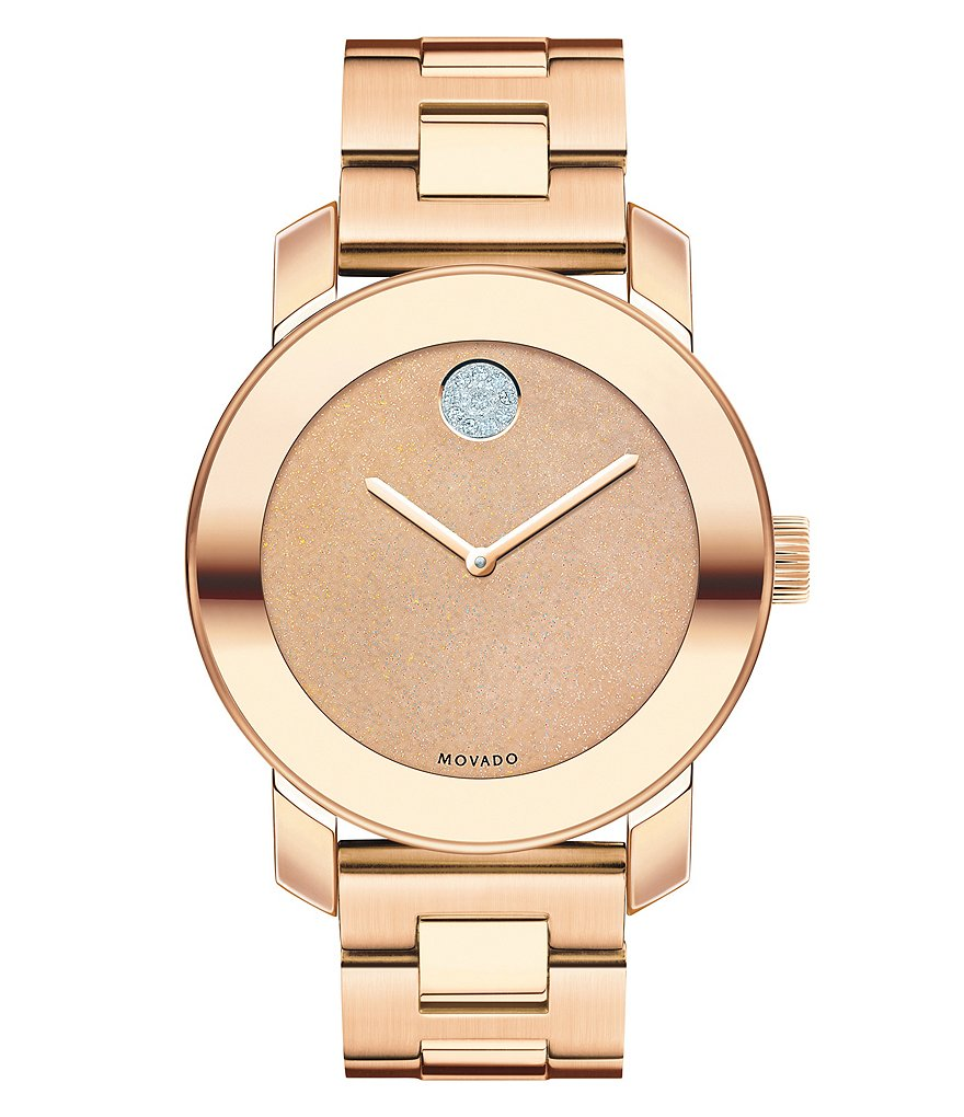 Movado Bold Rose Gold Tone Stainless Steel Link Bracelet Watch