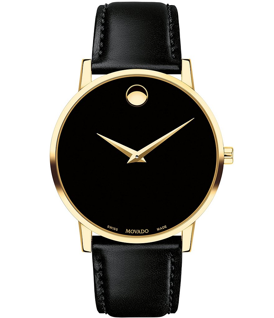 Movado Museum Classic Gold-Toned Case Black CalfSkin Watch