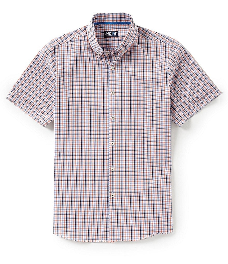 Move Performance Apparel Non-Iron Glen Plaid Stretch Short-Sleeve Woven Shirt