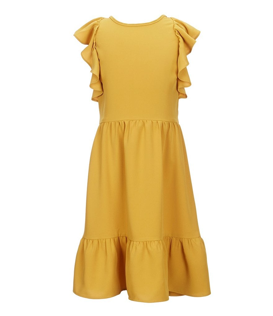 Mo:Vint Big Girls 7-16 Solid Ruffle-Sleeve Dress