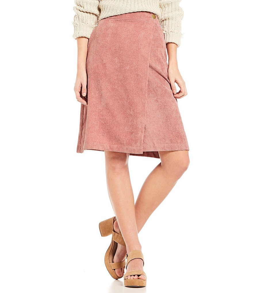 Mo:Vint Blush Pink Corduroy Asymmetric Wrap Style Knee Length Skirt