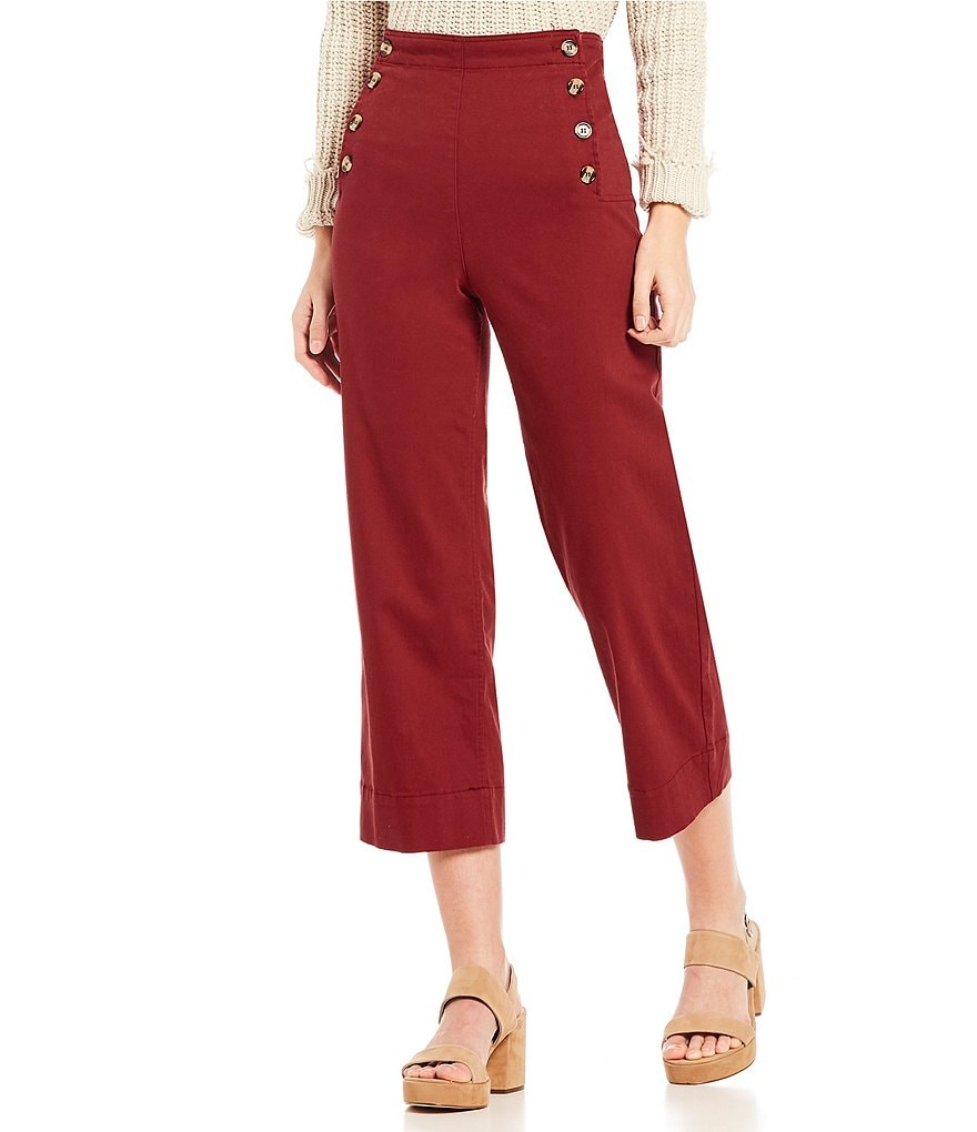 Mo:Vint High Waist Front Button Sailor Wide Leg Crop Culotte Pants