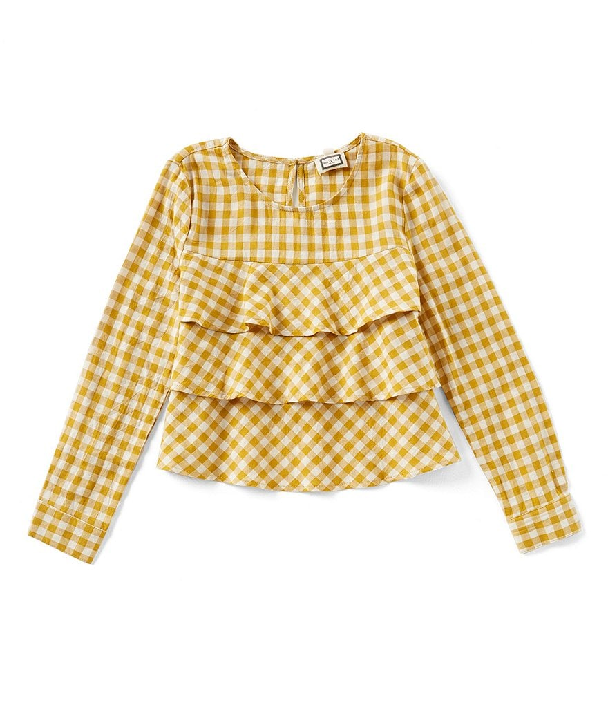 Mo:Vint Little Girls 2-6X Long-Sleeve Gingham Tiered Top
