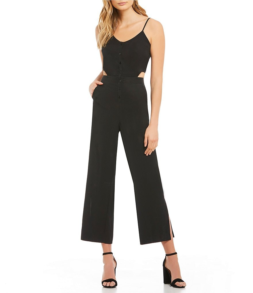 Mo:Vint Split Leg Side Cut-Out Scoop Neck Wide Leg Culotte Jumpsuit