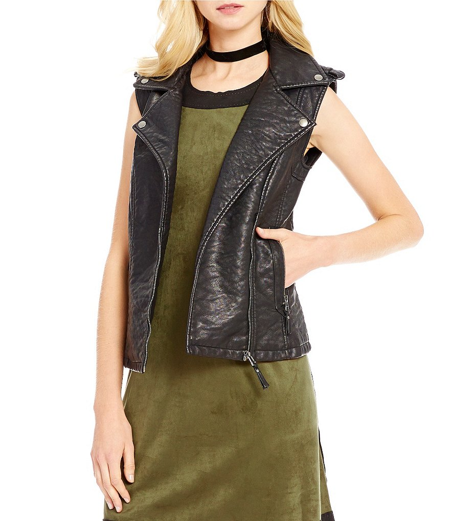 M.S.S.P. Faux-Leather Moto Vest
