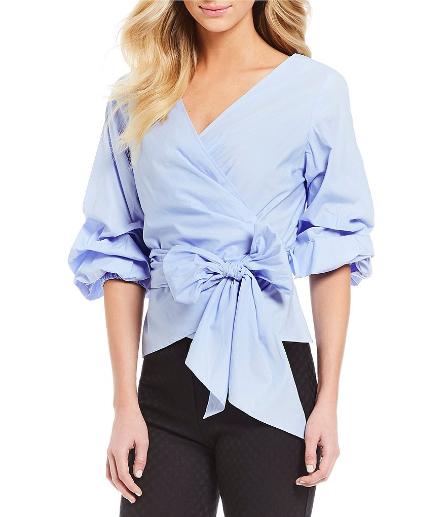 M.S.S.P. Gathered 3/4 Balloon Sleeve Tie Front Novelty Shirting Wrap Top