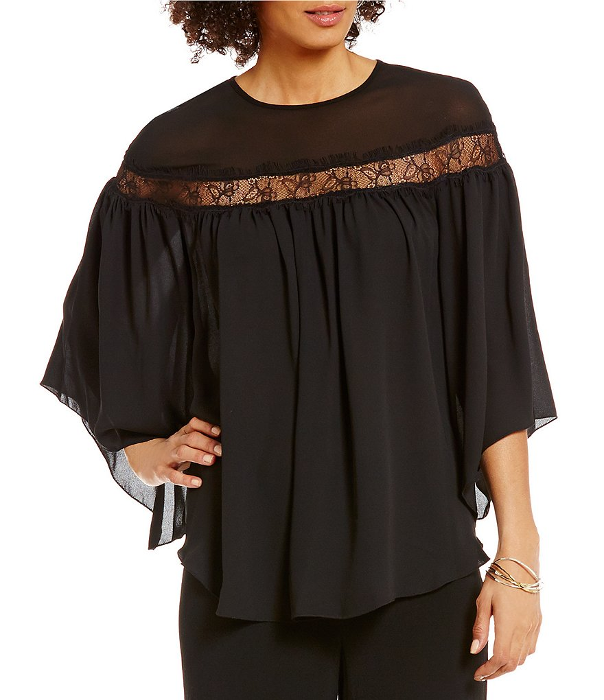 M.S.S.P. Lace Woven Chiffon/Sheer Batwing Sleeve Poncho