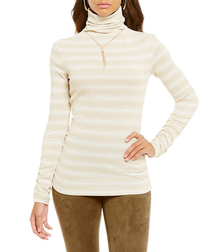 M.S.S.P. Mock Neck Ombré Ribbed Knit Top