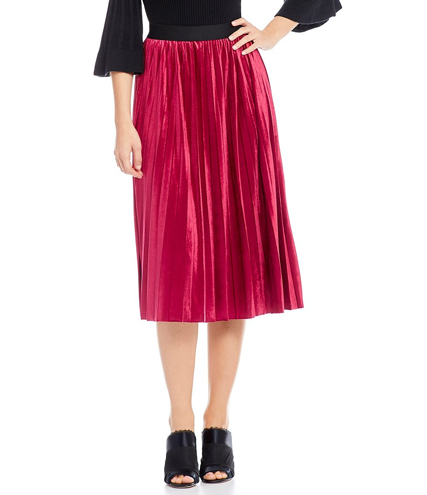 M.S.S.P. Pleated Velvet Midi Skirt