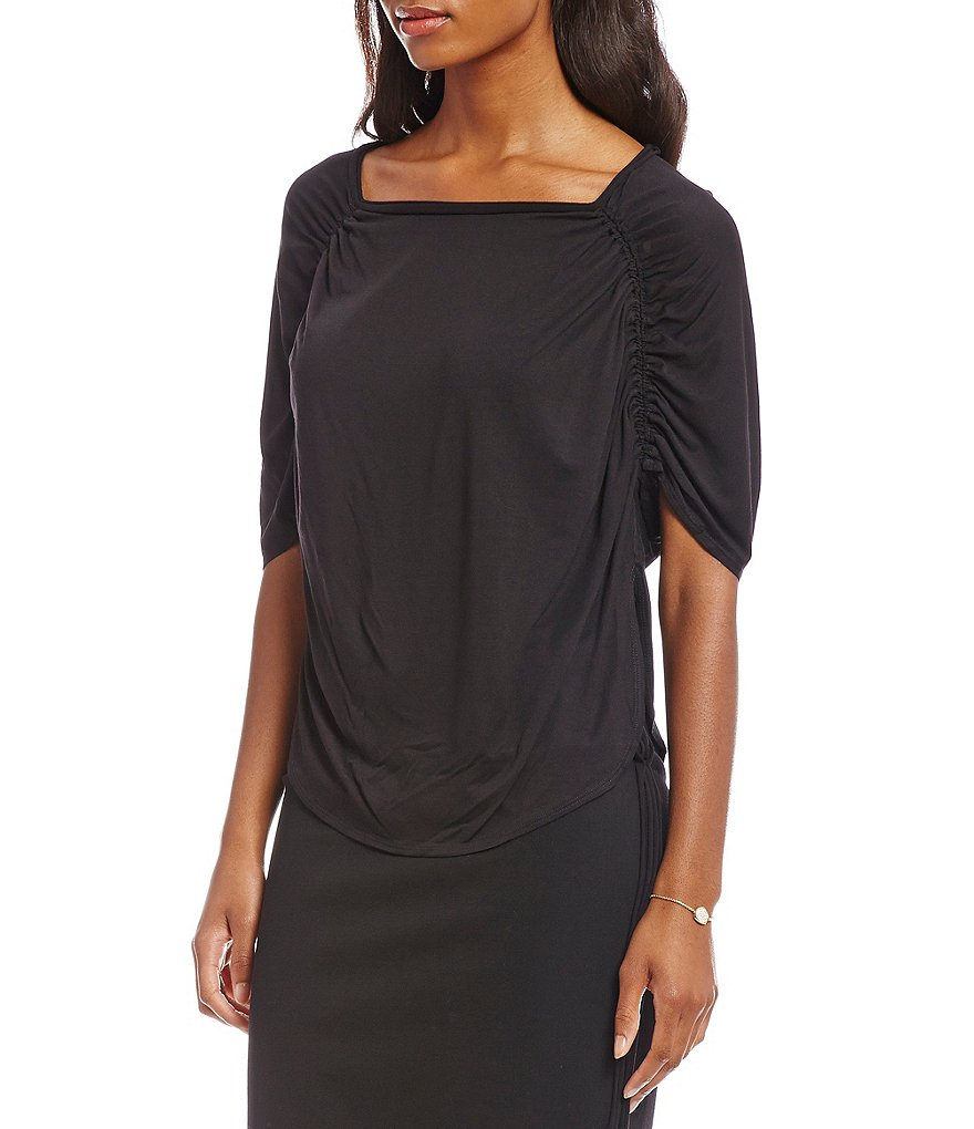 M.S.S.P. Ruched Shoulder Jersey Knit Top