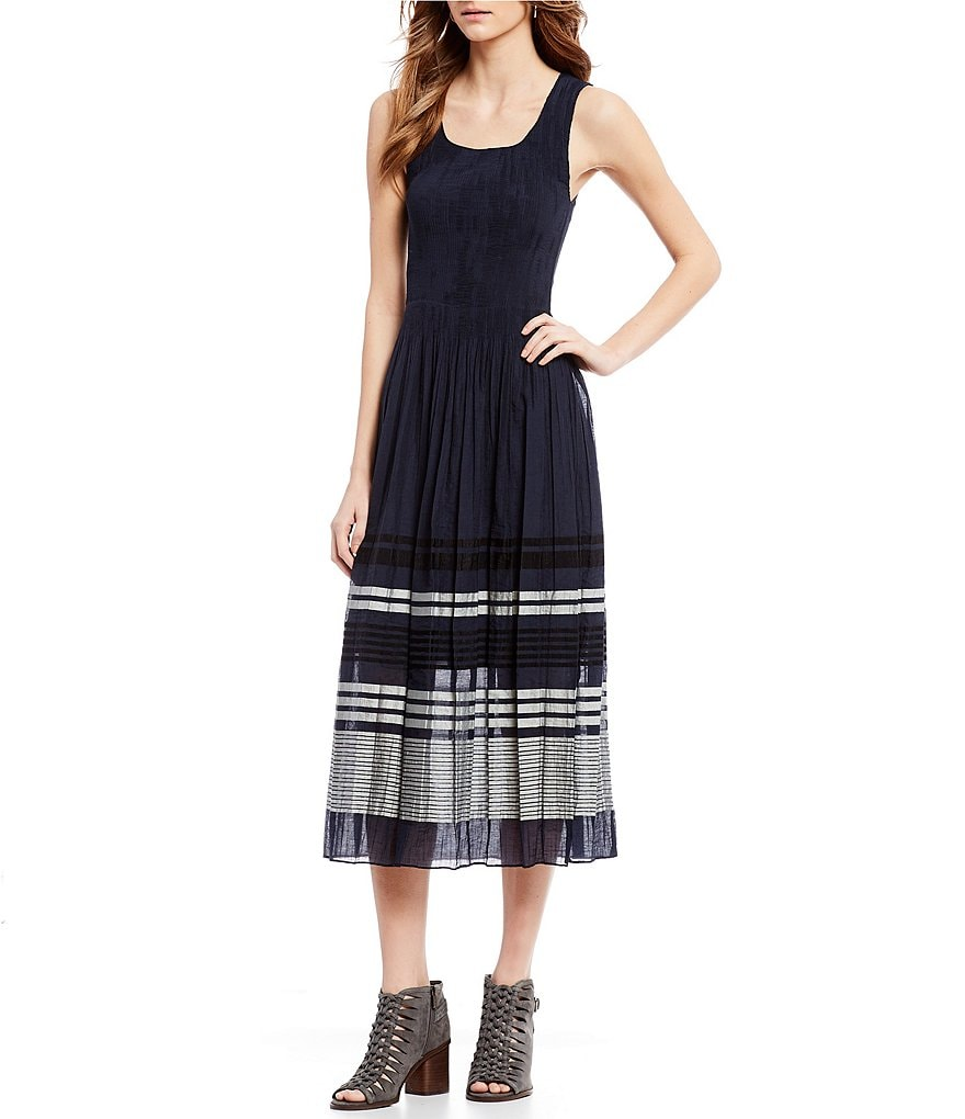 M.S.S.P. Smocked Jacquard Midi Dress
