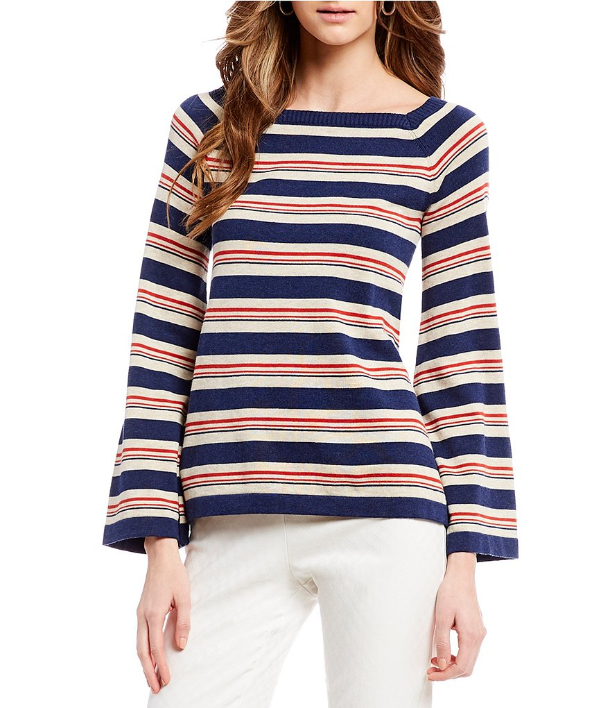 M.S.S.P. Striped Long Bell Sleeve Knit Top