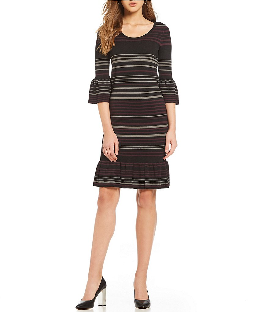 M.S.S.P. Striped Ruffled Knit Dress