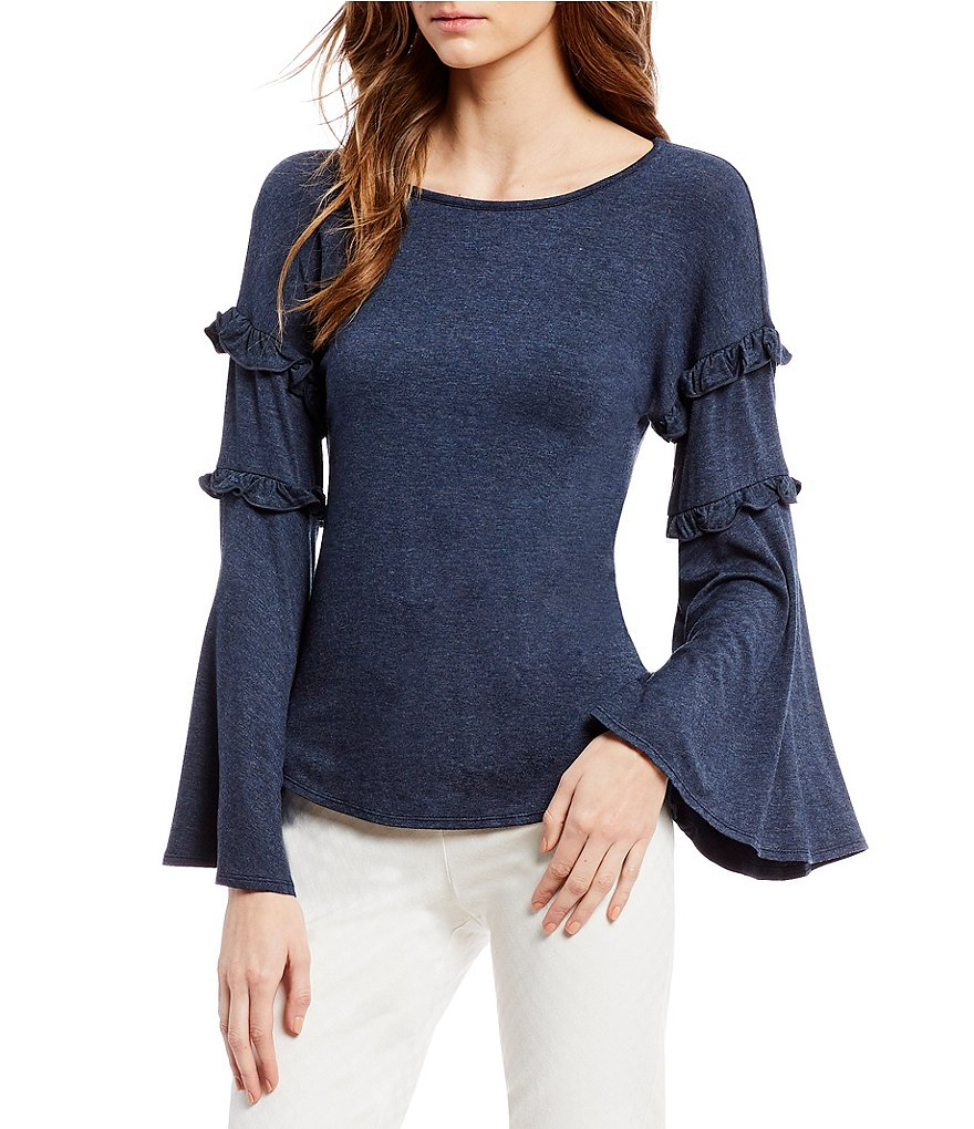 M.S.S.P. Tiered Ruffle Bell Sleeve Knit Jersey Top