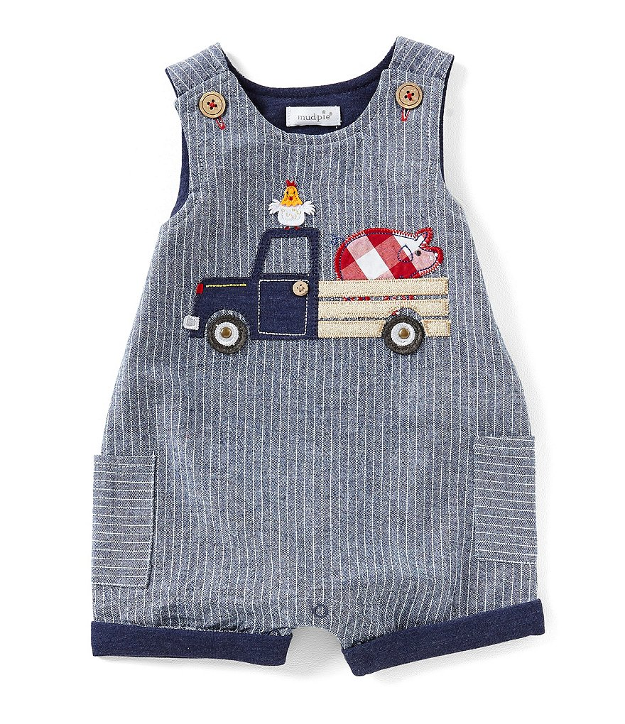 Mud Pie Baby Boys 9-18 Months Farmhouse Chambray Shortall