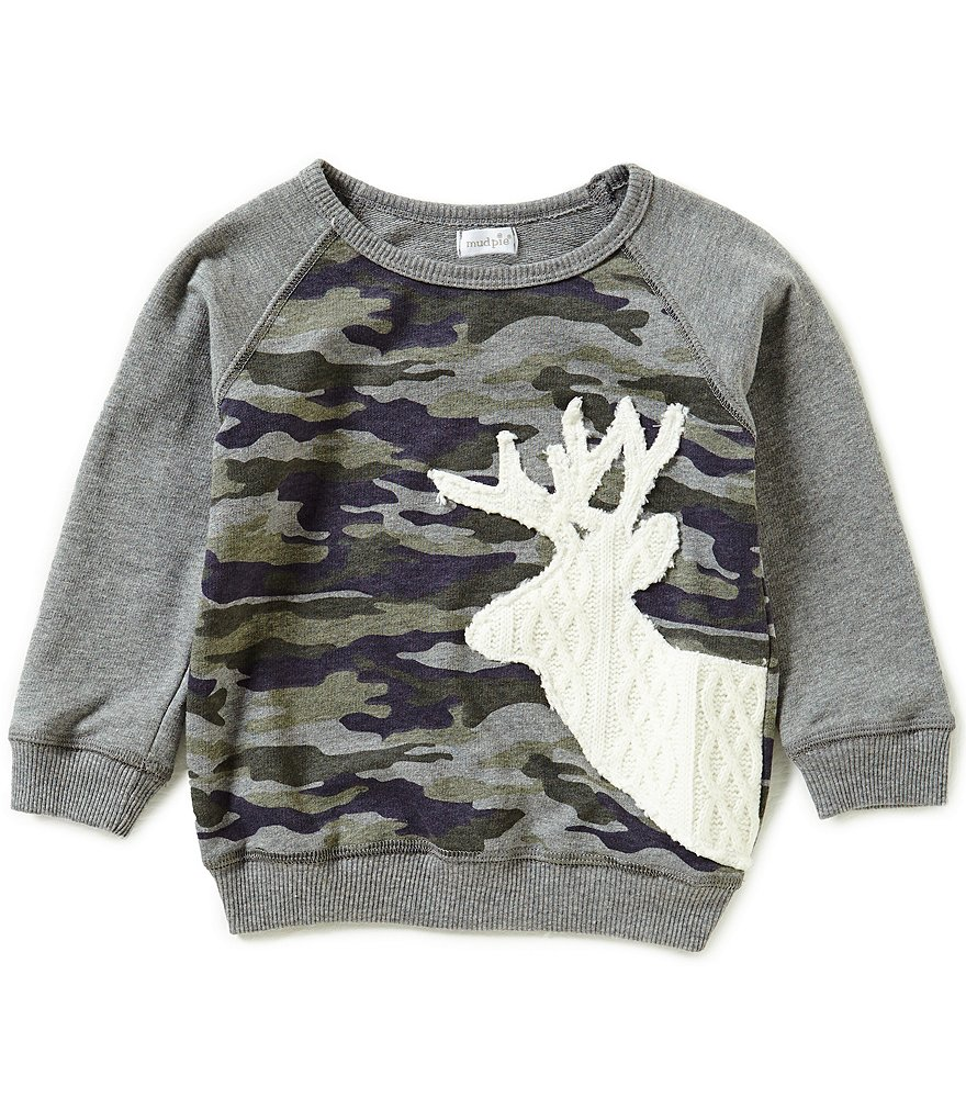 Mud Pie Baby Boys Deer-Head-Applique Camouflage Sweatshirt
