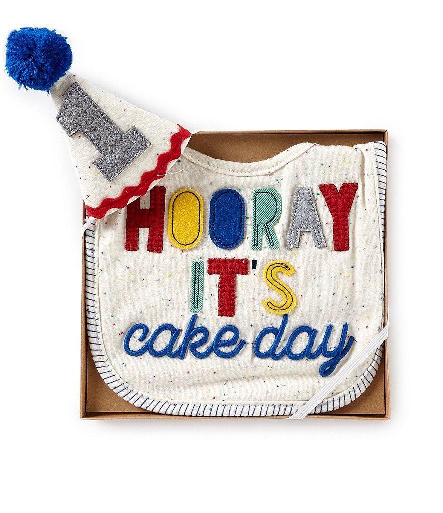 Mud Pie Baby Boys Hooray Birthday Bib   Hat Set  ce063b90dbd
