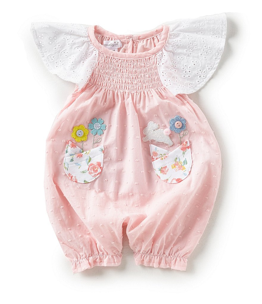 Mud Pie Baby Girls Newborn-12 Months Easter Flutter-Sleeve Dotted Romper
