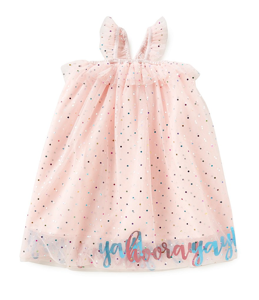 Mud Pie Baby Girls Yay Hooray Mesh Party Dress