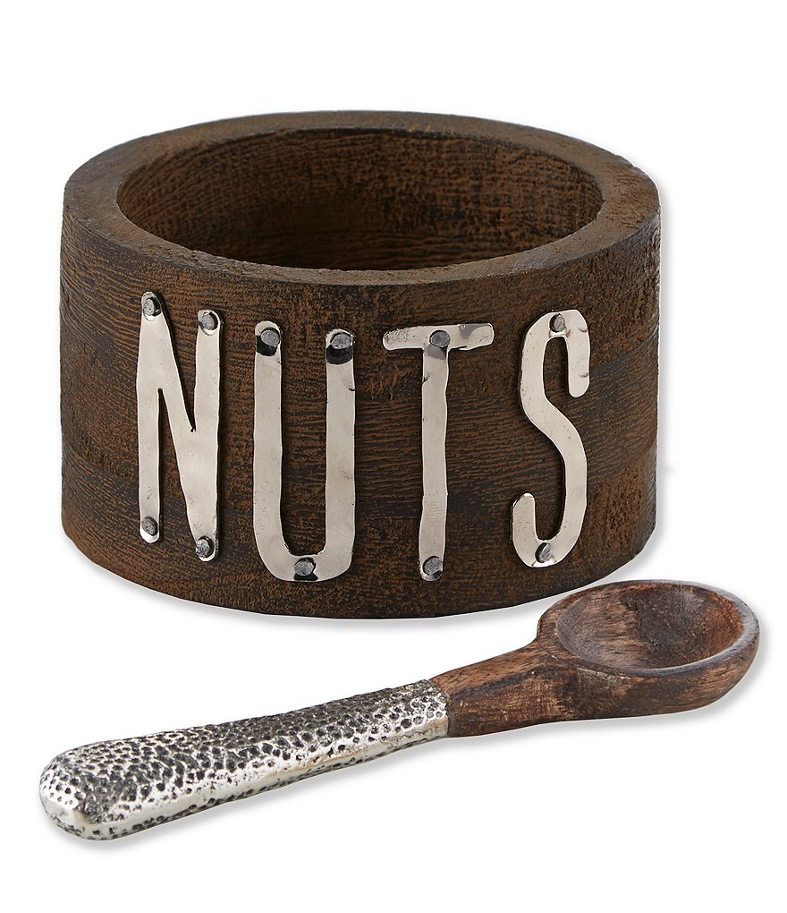 Mud Pie Bistro Wood & Metal Collection Nut Bowl and Spoon Set