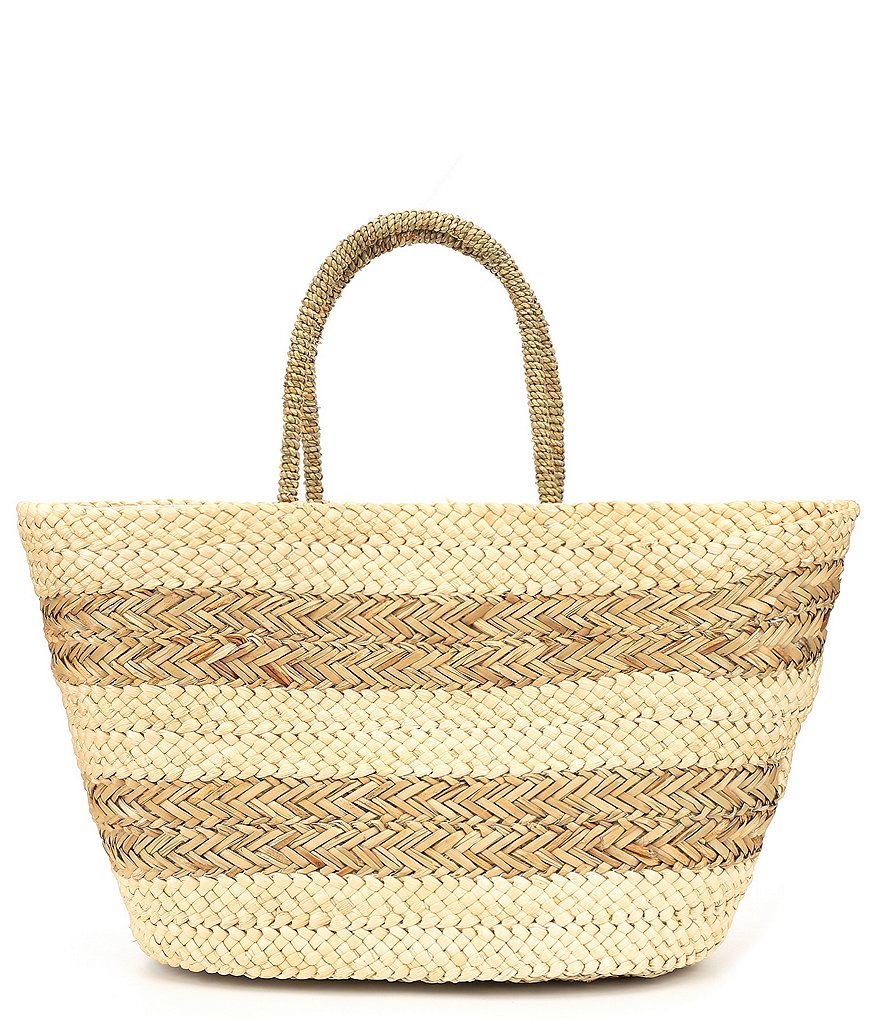 Mud Pie Striped Basket Tote