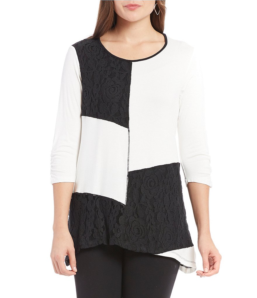 Multiples 3/4 Bungee Sleeve Color Block Top