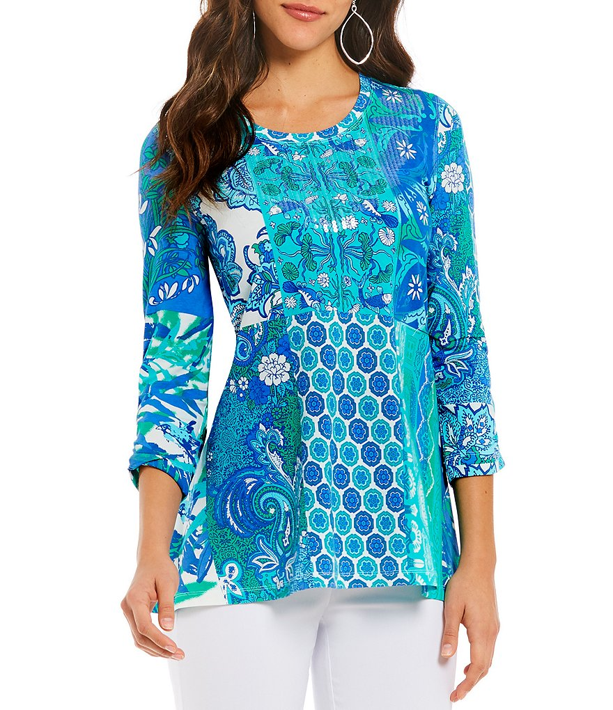 Multiples 3/4 Bungee Sleeve Embellished Round Neck Placement Print Tunic Top