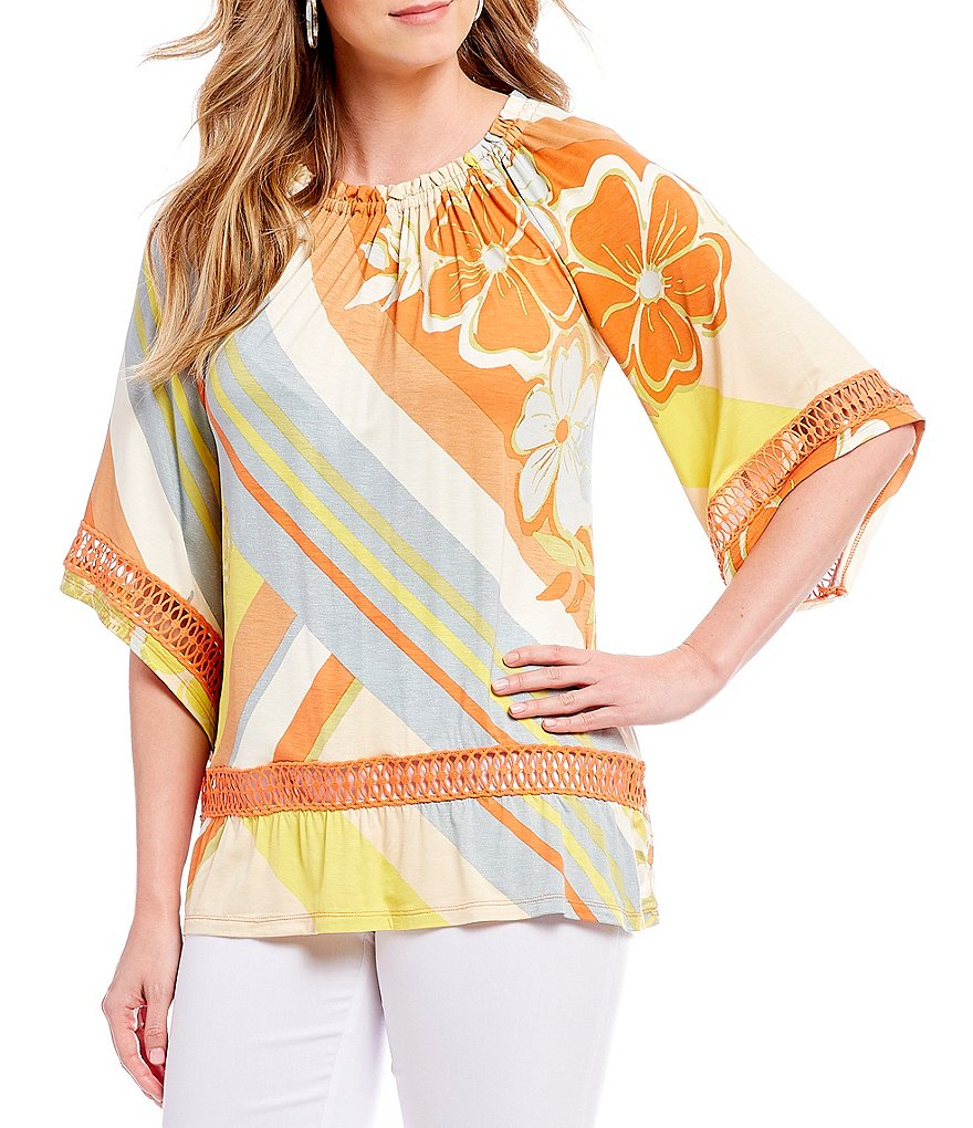 Multiples Floral Placement Stripe Print 3/4 Raglan Sleeve Ruffle Hem Top