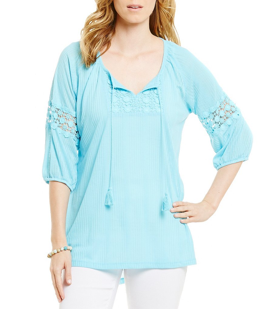 Multiples 3/4 Raglan Sleeve Tassel Tie Top
