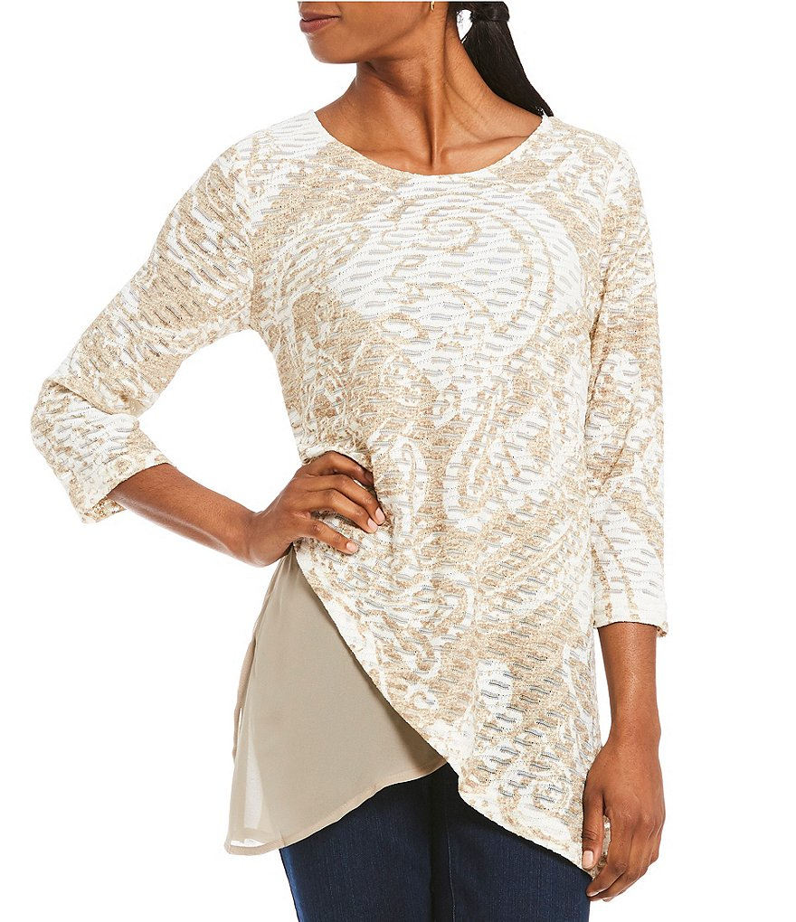 Multiples 3/4 Sleeve Layered Print Top
