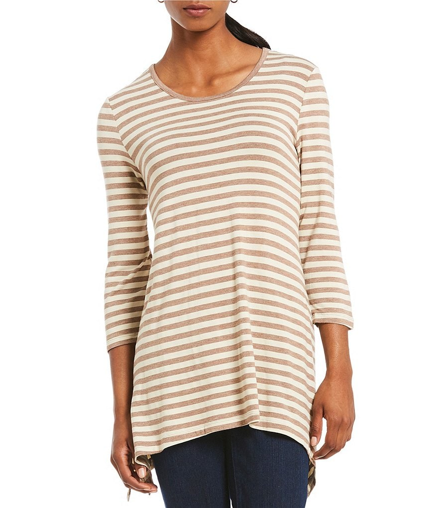 Multiples 3/4 Sleeve Stripe Print Sharkbite Knit Top