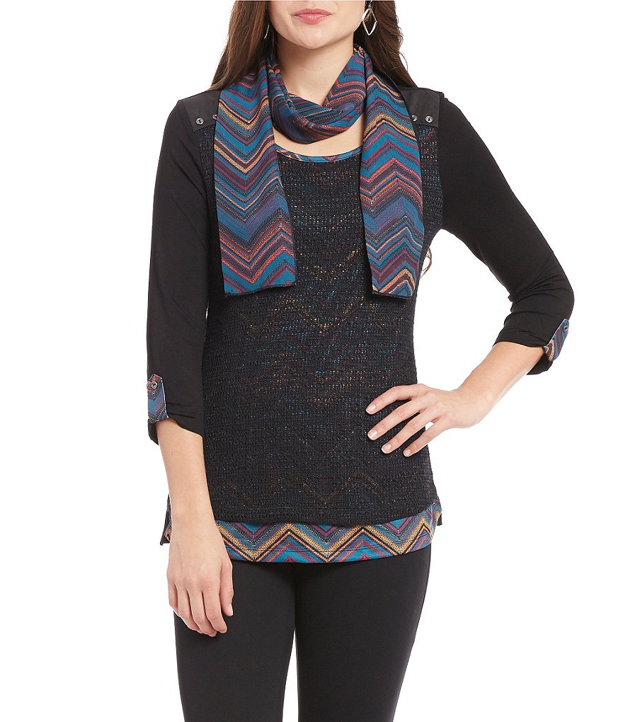 Multiples 3/4 Tab Sleeve Layered Hi-Lo Print Top With Attached Scarf