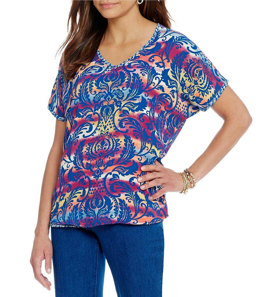 Multiples Dolman Short Sleeve V-Neck Reversible Print Top