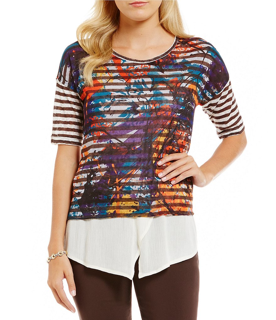 Multiples Drop Shoulder Stripe Print Solid Crinkle Peplum Top