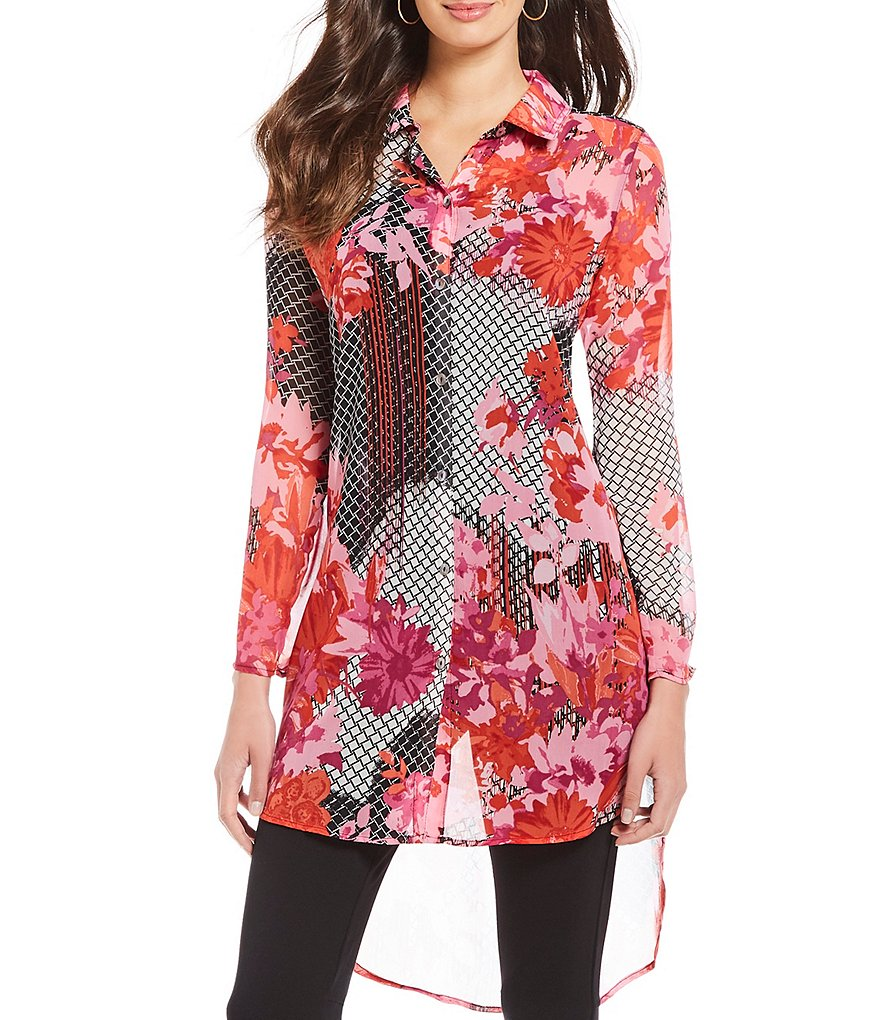 Multiples Long Roll-Tab Sleeve Hi-Lo Hem Floral Print Shirt