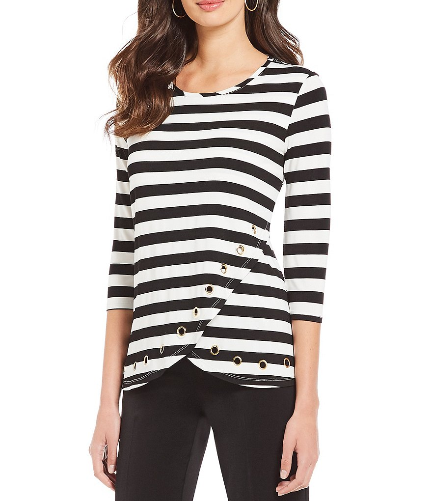 Multiples Petites 3/4 Sleeve Accent Grommet Details Wrap Front Stripe Print Top
