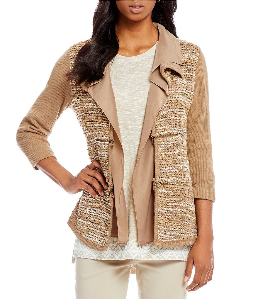 Multiples Petites 3/4 Sleeve Double Shawl Collar Boucle Knit Jacket