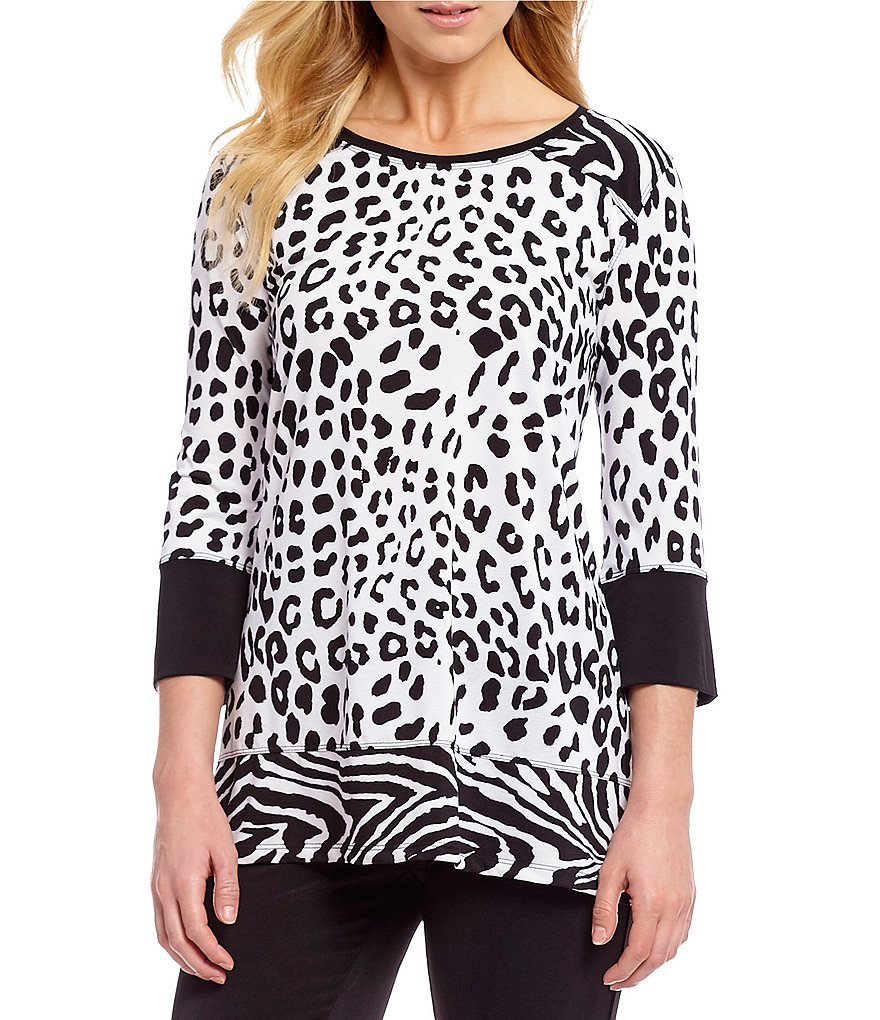 Multiples Petites Elbow Sleeve Printed Crew Neck Tunic